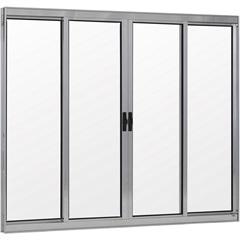 Janela 4 Folhas de Alumínio sem Bandeira Linha Prata 100x150cm - Ebel