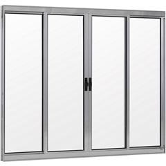 Janela 4 Folhas de Alumínio sem Bandeira Linha Prata 100x200cm - Ebel
