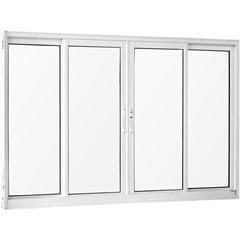 Janela 4 Folhas de Alumínio sem Bandeira sem Grade Una Branca 100x200 Cm - Casanova
