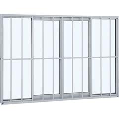 Janela de Correr Central com Grade Clássica Alumifit 100x150cm Branca - Sasazaki