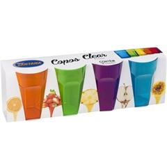 Jogo Copos Clear Color 4 Peças 450ml - Plásticos Santana