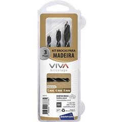 Jogo de Brocas de 3 Pontas para Madeira com 3 Peças - Bemfixa