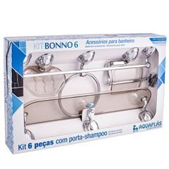 Kit de Acessórios para Banheiro Bonno 6 Peças Fumê/Cromado - Stamplas