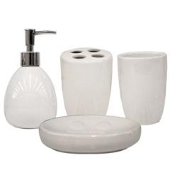 Kit de Acessórios para Banheiro com 4 Peças Branco