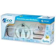 Kit de Acessórios para Banheiro com Toalha Eco com 6 Peças Cromado - Expambox