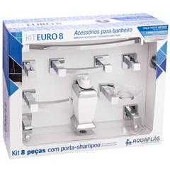 Kit de Acessórios para Banheiro Euro 8 Peças Cristal/Cromado - Stamplas