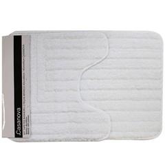 Kit de Tapetes de Banheiro em Microfibra com 2 Peças Branco