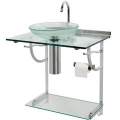 Lavabo em Vidro Space 74,5x62,5cm Transparente E Alumínio - Cris Metal
