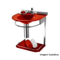 Lavabo Suspenso com Cuba Moldada E Prateleira Vermelho Ref.: 973 50x46x62.5 Cm - Cris Metal