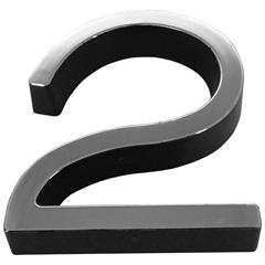 Número 2 Plástico 8cm Preto Cromado