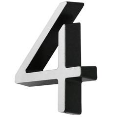 Número 4 Cromado E Preto - Fixtil