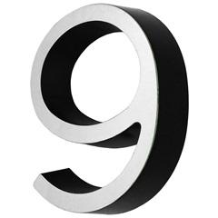 Número 9 Cromado E Preto - Fixtil