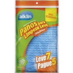 Pano Multiuso para Limpeza Leve com 7 Unidades Azul - Alklin