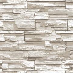 Papel de Parede Estilo Natural Pedra Bege E Branco 53cm com 10 Metros