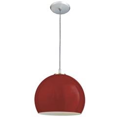 Pendente de Vidro Pequeno para 1 Lâmpada 1/2 Bola Vermelho - Pantoja & Carmona