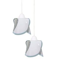 Pendente em Vidro para 2 Lâmpadas Hélice 80x49cm Branco