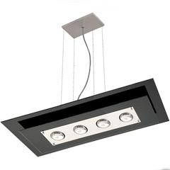 Pendente em Vidro para 4 Lâmpadas Retangular Spacial Preto - Pantoja