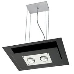 Pendente Spacial Retangular para 2 Lâmpadas Vidro Preto - Pantoja