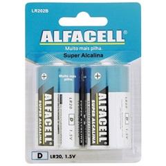 Pilha Grande Alcalina 1,5v 2 Unidades - Alfacell