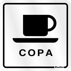 """Placa Sinalizadora """"Copa"""" de Alumínio 12x12cm  - Sinalize"""