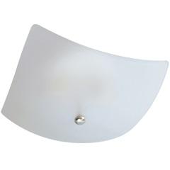 Plafon em Vidro Quadrado para 2 Lâmpadas 25cm Branco E Cromado - Pantoja & Carmona