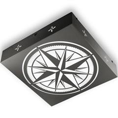 Plafon Quadrado Rosa dos Ventos Preto 6000k Luz Branca - RCG Tecnologia