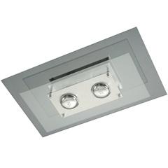 Plafon Retangular para 2 Lâmpadas Spacial Transparente - Pantoja & Carmona