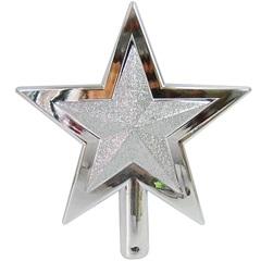 Ponteira Estrela para Árvore de Natal 18x16,5cm Prata - Santini Christmas