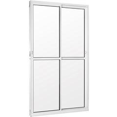 Porta Balcão 2 Folhas Móveis em Alumínio Vidro Liso Una Branca 210x150cm - Casanova
