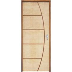 Porta com Miolo Semi Oco Montada Esquerda Curupixá Frisada 210x82cm - Sidney Esquadrias
