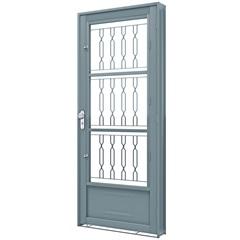 Porta de Abrir com Postigo E Grade Mosaico Esquerda 215x90x6,5 Ref. 1385.1 - Lucasa