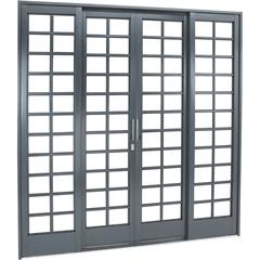 Porta de Correr Central Quadriculada Belfort 217x200cm Cinza - Sasazaki