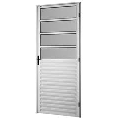 Porta em Alumínio Esquerda 4 Vidros Mini Boreal Bari Branca 2,10 X 0,86m  - Ebel