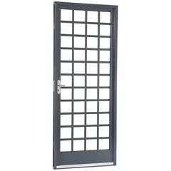 Porta Esquerda com Divisão Quadriculada Belfort 217x87x12cm Cinza