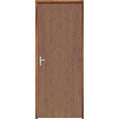Porta Semi Oca Montada Direita Imbuia Lisa 210x72cm com Batente de 9cm Natural - Sidney Esquadrias