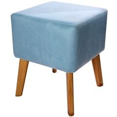 Puff com Pés de Madeira Quadrado Índigo 37x45cm Azul - Decorglass