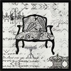 Quadro de Madeira com Vidro Cadeira 58x58cm - Euroquadros