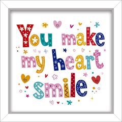 Quadro em Mdf You Make My Heart Smile 24x24cm - Euroquadros