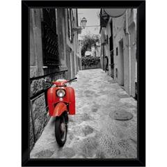 Quadro Itália Moto Vermelha 29x39cm