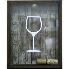 Quadro Porta Rolha em Madeira Taça de Vinho 22x27cm Imbuia