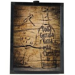 Quadro Porta Rolha em Madeira Taça E Garrafa de Vinho 47x36cm Marrom E Preto - Império Decore