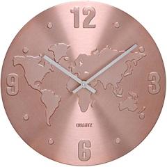 Relógio de Parede em Alumínio Redondo Mapa 30cm Rosê