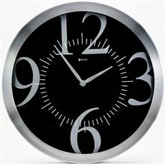 Relógio de Parede em Alumínio Redondo Prime 35,5cm Alumínio E Preto - Zdecor