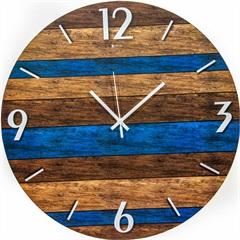 Relógio de Parede em Mdf Redondo Wood Art 45cm Azul E Marrom - Zdecor