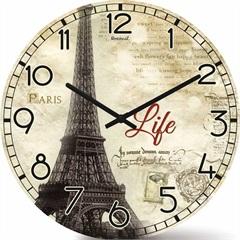 Relógio de Parede em Mdf Redondo Wood Max 33,5cm Bege - Relobraz