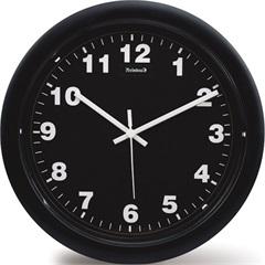 Relógio de Parede em Plástico Redondo 30cm Preto - Relobraz