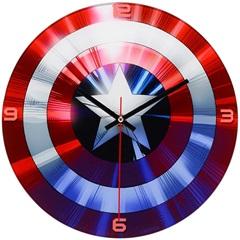 Relógio de Parede em Vidro Redondo Capitão América 30cm  - Importado