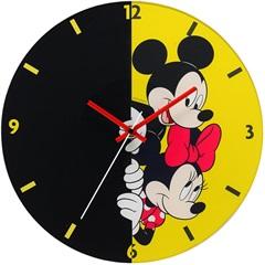 Relógio de Parede em Vidro Redondo Mickey E Minnie 30cm Amarelo E Preto - Importado