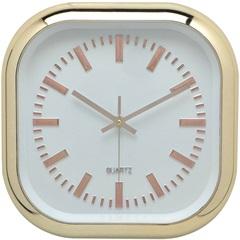 Relógio de Parede Quadrado 30,5cm Dourado E Branco - Importado