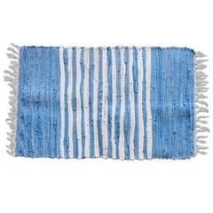 Tapete em Algodão Listrado 80x50cm Azul - Casanova